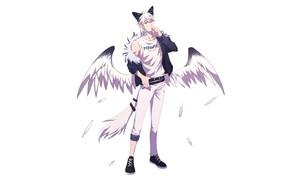Картинка стиль, крылья, существо, маска, хвост, парень, ушки