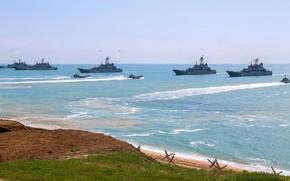 Картинка корабли, большие, учения, десантные