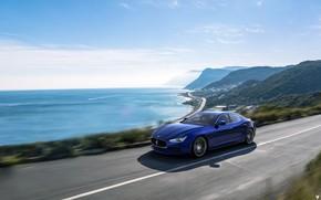 Картинка Maserati, Море, Синий, Машина, Car, Пейзаж, Побережье, Render, Рендеринг, Спорткар, Maserati Ghibli, Ghibli, Синий цвет, …