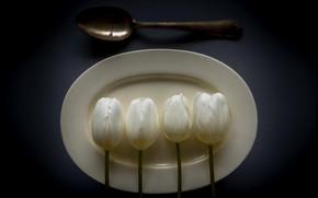 Картинка тарелка, ложка, тюльпаны