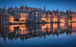 Картинка ночь, отражение, дома, Нидерланды, Гаага, Binnenhof, Бинненхоф