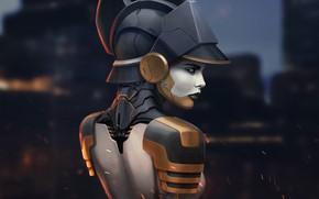 Картинка взгляд, девушка, спина, арт, профиль, cyberpunk, фантастика.