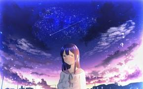 Картинка небо, девушка, ночь, дома, слезы