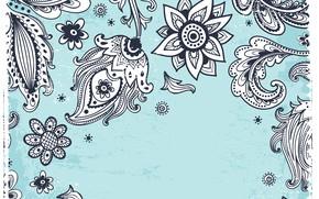 Картинка белый, цветы, фон, голубой, узор, черный, текстура