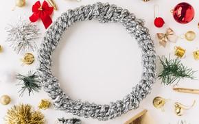 Картинка Новый Год, Рождество, Christmas, венок, wood, New Year, decoration, wreath, Merry