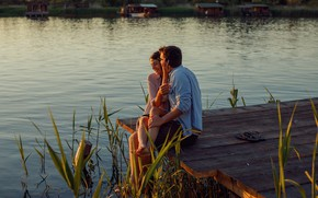 Картинка девушка, река, пара, мужчина, влюбленные