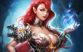 Картинка Girl, Fantasy, Art, Style, Illustration, Minimalism, Dress, Red Hair, Wizard, Character, Dragon girl, Rena Illusion