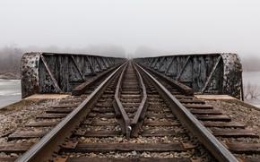 Картинка мост, туман, железная дорога