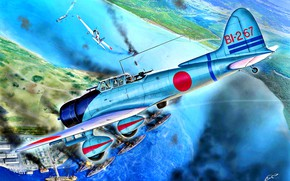 """Картинка Япония, Aichi, D3A, Перл-Харбор, WWII, Пикирование, """"Val''"""