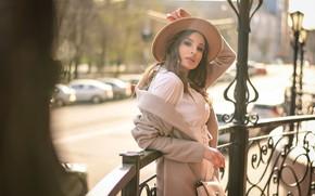 Картинка взгляд, девушка, поза, шляпа, сумочка, Анастасия Мазай (Донская), Олеся Владимировна