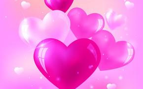 Картинка любовь, розовый, сердце, сердечки, love, heart, background