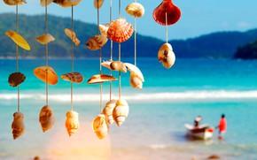 Картинка море, лодка, ракушки, блюр