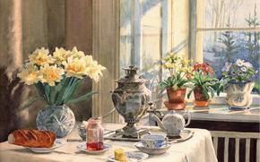Картинка цветы, стол, чайник, окно, ваза, самовар, варенье, батон, Ольга Александровна Куликовская-Романова, горШки