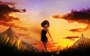 Картинка закат, арт, девочка