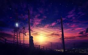 Картинка девушка, закат, город
