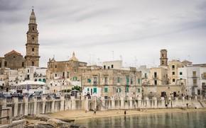 Картинка башня, дома, Италия, набережная, колокольня, Монополи