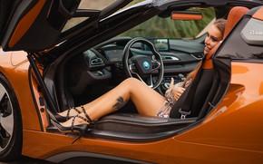 Картинка машина, авто, девушка, поза, тату, туфли, ножки, Bmw i8, Salih Gökduman