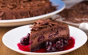 Картинка вишня, тарелка, торт, шоколадный, сироп, кусочек торта