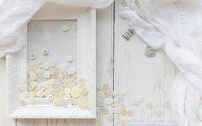 Картинка белый, рамка, ткань, пуговицы