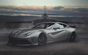 Картинка Авто, Самолет, Машина, Ferrari, Арт, B-1, Суперкар, Бомбардировщик, Rockwell B-1 Lancer, Спорткар, Ferrari F12, Transport …