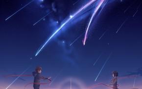 Картинка девушка, закат, вечер, кометы, парень, Твоё Имя, Kimi No Na Wa