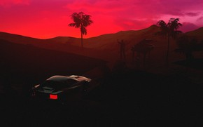 Картинка Закат, Авто, Музыка, Человек, Машина, Стиль, Силуэт, Ferrari, Style, Neon, Illustration, Testarossa, 80's, Synth, Retrowave, …