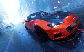 Картинка машина, авто, капли, дождь, The Crew 2, Mazda MX5