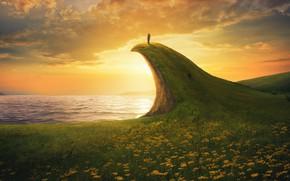 Картинка море, лето, небо, девушка, солнце, облака, цветы, природа, скала, река, фантазия, обрыв, рассвет, берег, спина, …