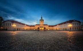 Картинка небо, город, огни, плитка, здание, вечер, Германия, площадь, фонари, архитектура, Берлин