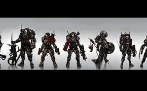 Картинка фантастика, солдаты, броня, мечи, экзоскелет