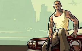 Картинка машина, небо, майка, парень, Grand Theft Auto: San Andreas
