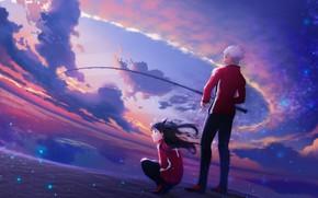 Картинка небо, удочка, рин, арчер, Fate / Stay Night, Судьба Ночь схватки