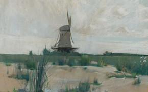Обои пейзаж, картина, Ветряная Мельница, Джон Генри Твахтман, John Henry Twachtman