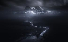 Картинка снег, горы, ручей, тьма, мрак
