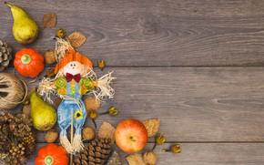 Картинка осень, листья, яблоки, фрукты, орехи, груши, wood, autumn, leaves, fruit, apples