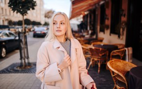 Картинка модель, портрет, макияж, прическа, блондинка, красотка, пальто, боке, Сергей Кравчёнок, Алиса Малевич