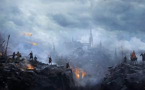 Картинка Город, Огонь, Люди, City, Битва, Fantasy, Fire, Фантастика, War, Войны, Атака, Battle, Attack, People, Осада, …