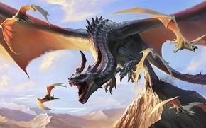 Картинка дракон, Brian Valeza, Виверны, вымышленное существо, Afternoon Snack, Dragon hunting Wyverns