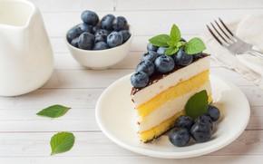 Картинка ягоды, черника, пирожное, крем, бисквит, суфле