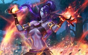 Картинка Огонь, Магия, Пламя, WOW, Fire, Blizzard, Эльф, Flame, Magic, WarCraft, Elf, Warlock, Firestorm, Магия Ночной …