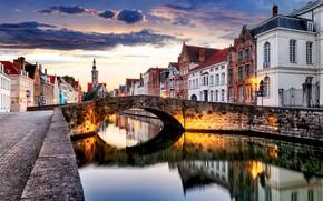 Обои город, река, вечер, Бельгия, улицы, Belgium, Брюгге, Bruges