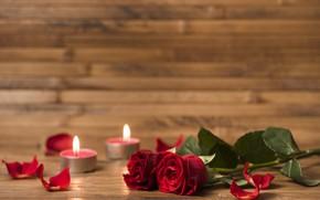 Картинка романтика, розы, букет, свечи
