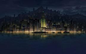 Картинка Вода, Море, Ночь, Город, Корабль, Небоскребы, Судно, Пейзаж, Архитектура, Арт, Art, Катера, by Chao Huang, …