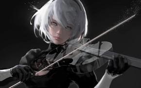 Обои скрипка, NieR Automata, YoRHa No 2 Type B