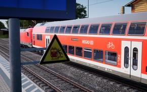 Картинка Красный, Локомотив, Поезд, Знак, Железная Дорога, Train Sim World 2020, Метка, Железнодорожный Знак