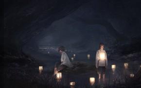 Картинка ночь, фонари, иероглифы, речка, в воде, обряд, две девочки, жрицы