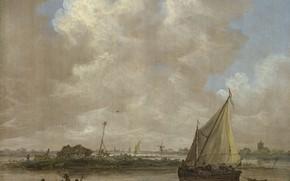 Картинка картина, Ян ван Гойен, Jan van Goyen, Речной вид с хижиной на острове, парус, пейзаж