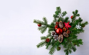 Картинка ветки, стол, праздник, игрушки, новый год, ели, декор, композиция