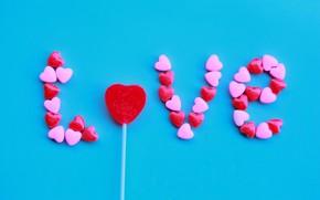 Картинка Love, Candy, Blue, Happy, Inscription
