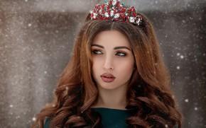 Картинка девушка, снег, лицо, волосы, портрет, макияж, губки, диадема, Олеся Ефанова, Айгюн Алиева